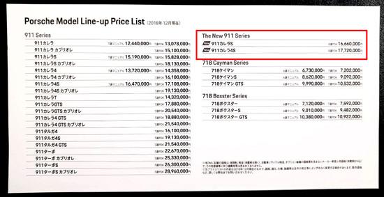 ポルシェ992 新型ポルシェ911 日本国内 価格 値段